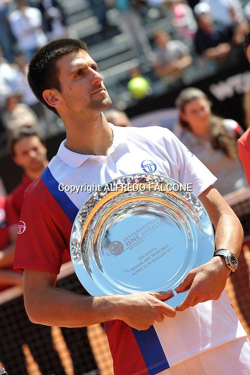 Foto Alfredo Falcone - LaPresse<br /> 21/05/2012 Roma ( Italia)<br /> Sport Tennis<br /> Novak Djocovic (SRB) - Rafael Nadal (ESP)<br /> Internazionali BNL d'Italia 2012<br /> Nella foto:Novak Djocovic<br /> Novak Djocovic (SRB) - Rafael Nadal (ESP)<br /> Photo Alfredo Falcone - LaPresse<br /> 21/05/2012 Roma (Italy)<br /> Sport Tennis<br /> Internazionali BNL d'Italia 2012<br /> In the pic:Novak Djocovic