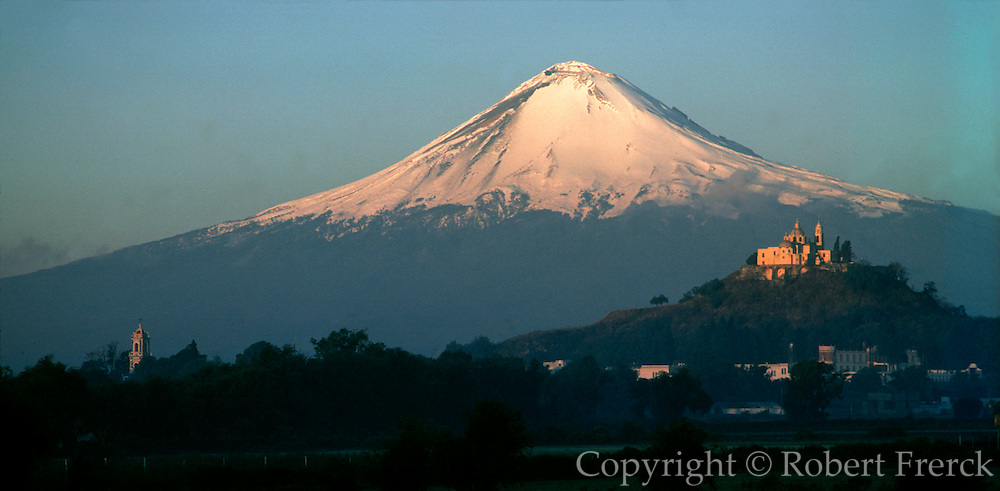 MEXICO, LANDSCAPES Popocatepetl and Cholula Pyramid