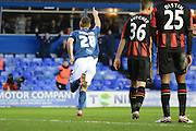 Birmingham City defender Michael Morrison celebrates goal during the The FA Cup third round match between Birmingham City and Bournemouth at St Andrews, Birmingham, England on 9 January 2016. Photo by Alan Franklin.