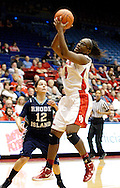 Rhode Island junior Ashley Rivera (12) watches UD junior Olivia Applewhite (4) as the Rhode Island Rams play the University of Dayton Flyers at UD Arena in Dayton, Saturday, January 7, 2012.