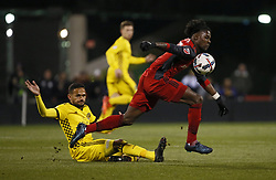 November 21, 2017 - Columbus, OH, USA - Toronto FC forward Tosaint Ricketts (87) steals the ball from Columbus Crew midfielder Artur (7) during the first half of the first leg of the MLS Eastern Conference finals at MAPFRE Stadium in Columbus, Ohio, on Tuesday, Nov. 21, 2017. (Credit Image: © Adam Cairns/TNS via ZUMA Wire)