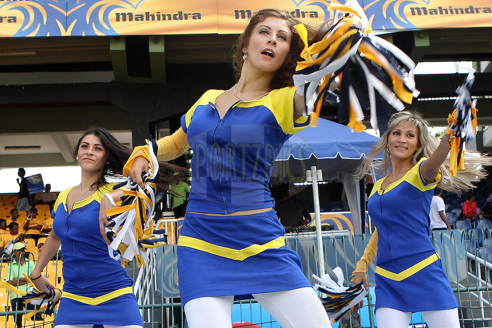 Cheer leaders entertain the crowd during match 19 of the Sri Lankan Premier League between  Uthura Rudras and Nagenahiras held at the Premadasa Stadium in Colombo, Sri Lanka on the 26th August 2012. .Photo by Ron Gaunt/SPORTZPICS/SLPL