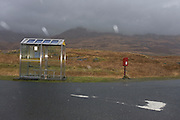 Bus stop on the junction of B8035 and A849 roads near Pennyghael, Isle of Mull, Scotland.