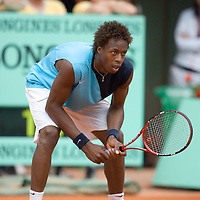 01 June 2007: French player Gael Monfils in action during the French Tennis Open third round match won by David Nalbandian 7-6, 5-7, 6-4, 7-6, at Roland Garros, in Paris, France.