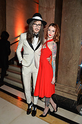 JOSHUA KANE and FRANCESCA MERRICKS at the Warner Music Group & Ciroc Vodka Brit Awards After Party held at The Freemason's Hall, 60 Great Queen St, London on 24th February 2016.