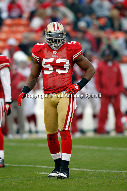San Francisco 49ers linebacker NaVorro Bowman (53) looks on during the NFL week 17 football game against the Arizona Cardinals on Sunday, January 2, 2011 in San Francisco, California. The 49ers won the game 38-7. (©Paul Anthony Spinelli)