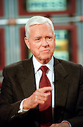 U.S. Senator Fritz Hollings discusses the ongoing Senate trial of President Clinton during NBC's Meet the Press January 24, 1999 in Washington, DC.