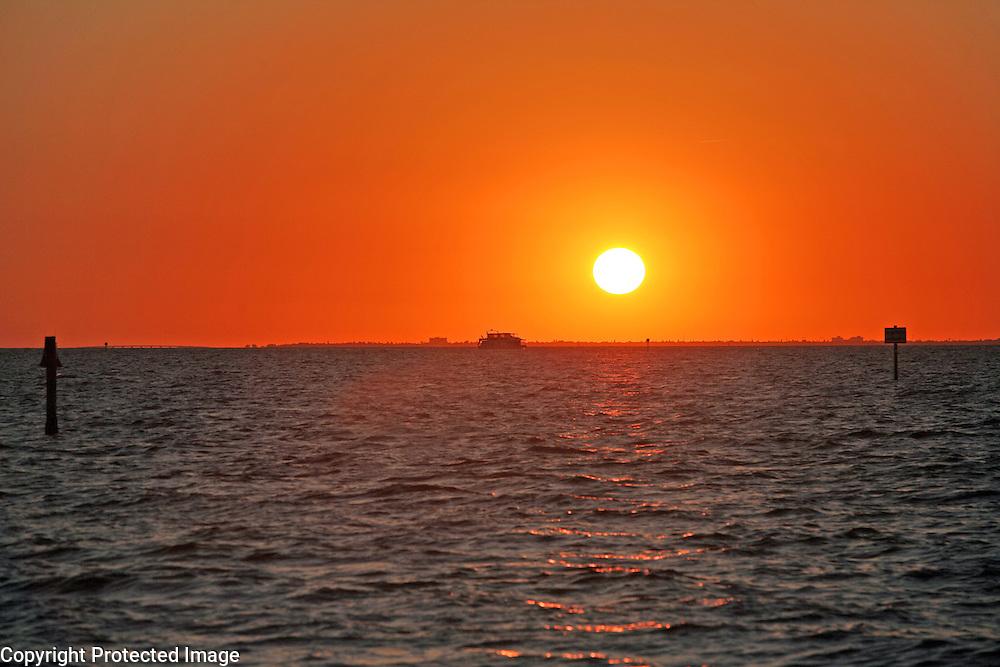 An autumn sunset on Tampa Bay, Florida
