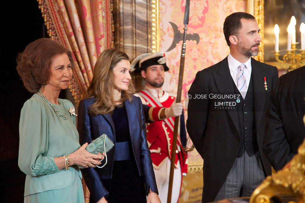 Spanish King Juan Carlos, Queen Sofia, Prince Felipe and Princess Letizia attended the Reception to Foreign Ambassadors at The Royal Palace in Madrid