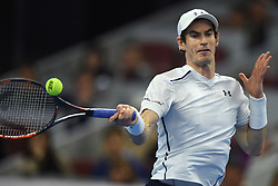BEIJING, Oct. 9, 2016  Andy Murray of Britain hits a return to Grigor Dimitrov of Bulgaria during the men's singles final at the China Open tennis tournament in Beijing, capital of China, Oct. 9, 2016. Murray claimed the title of the event after beating Dimitrov 2-0. (Credit Image: © Ju Huanzong/Xinhua via ZUMA Wire)