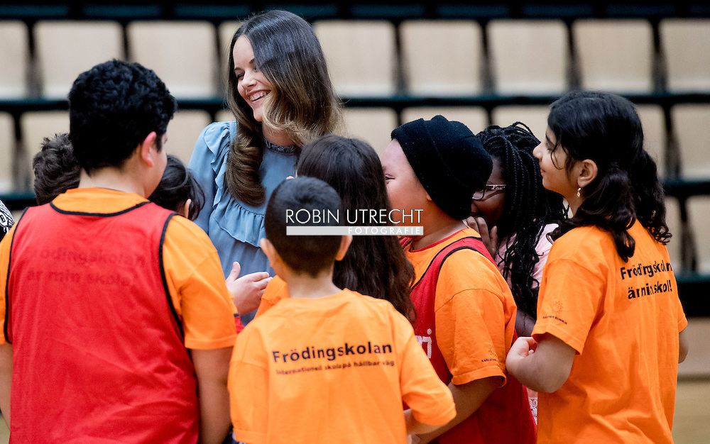 """21-10-2016 KARLSTAD SWEDEN - Princess Sofia visit """"Fritidsbanken"""" is like a library but with sports and leisure equipment. Equipment can be borrowed for active recreation, such as skis, ice skates, inline skates, snowboards, and more. One can borrow for shorter or longer time, depending on what one borrows. Everyone can borrow and everything is free.  Prince Carl Philip and Princess Sofia 's official visit to Värmland 21 October 2016 COPYRIGHT ROBIN UTRECHT Prins Carl Philip en Princess Sofia 's officieel bezoek aan Värmland 21 oktober 2016"""