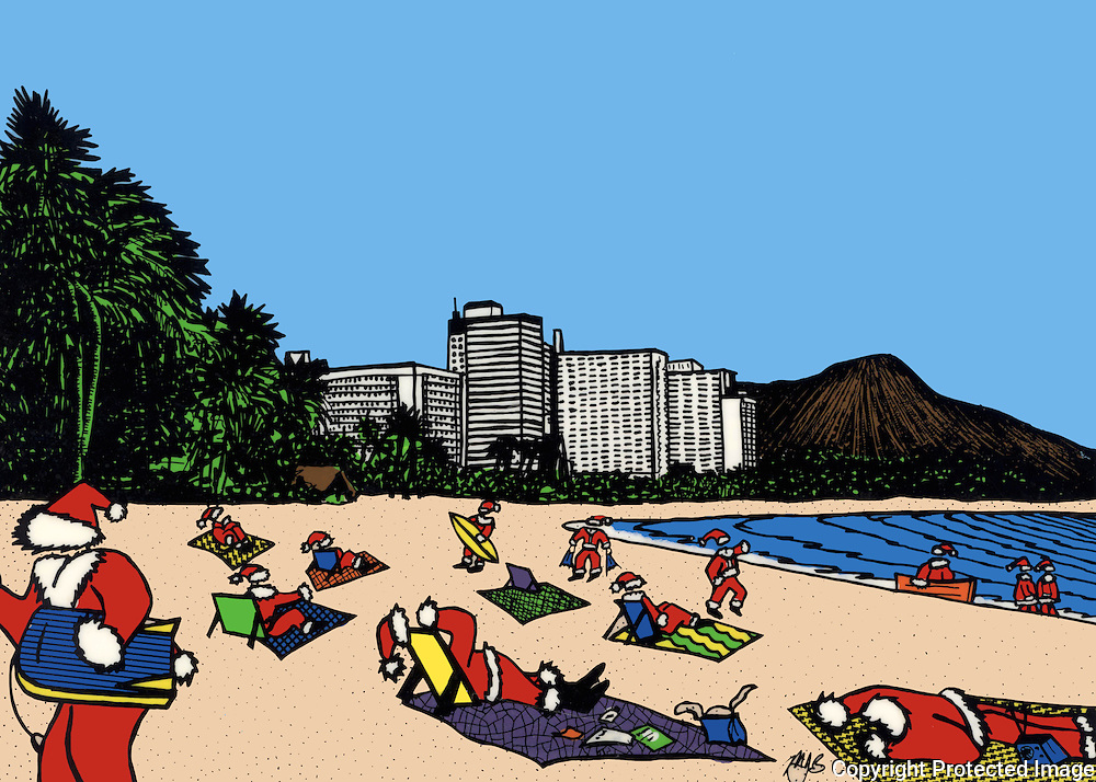 Cartoon illustration.  A group of Santa Claus suits are sunning themselves on a sandy beach or partaking in water sports.  They're on vacation.