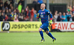 RHOSYMEDRE, WALES - Sunday, May 5, 2019: The New Saints' captain goalkeeper Paul Harrison celebrates his side's second goal during the FAW JD Welsh Cup Final between Connah's Quay Nomads and The New Saints at The Rock. (Pic by David Rawcliffe/Propaganda)