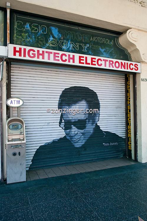 Tom Jones, Painted, Portrait, Roll-up, Security, Door, Hollywood, CA,  entertainer, screen, film ,Vertical image
