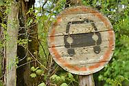 "Traffic sign ""No thoroughfare"", Musteika Village, on the border of the Cepkeliai reserve and the Dzukija National Park, Lithuania, EU"