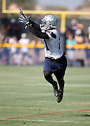 Dallas Cowboys rookie running back Ezekiel Elliott (21) leaps as he catches a pass during the second day of the Dallas Cowboys 2016 NFL training camp football practice held on Sunday, July 31, 2016 in Oxnard, Calif. (©Paul Anthony Spinelli)
