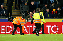 Stewards collect yellow balls from the pitch a The KCOM as Hull City fans protest against their owners The Allam's - Mandatory by-line: Robbie Stephenson/JMP - 23/02/2018 - FOOTBALL - KCOM Stadium - Hull, England - Hull City v Sheffield United - Sky Bet Championship