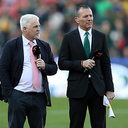 Stuart Barnes sky Sports commentator with Joel Stransky Supersport rugby commentator during the 2018 Castle Lager Incoming Series 1st Test match between South Africa and England at Emirates Airline Park,<br /> Johannesburg.South Africa. 09,06,2018 Photo by (Steve Haag Sports)