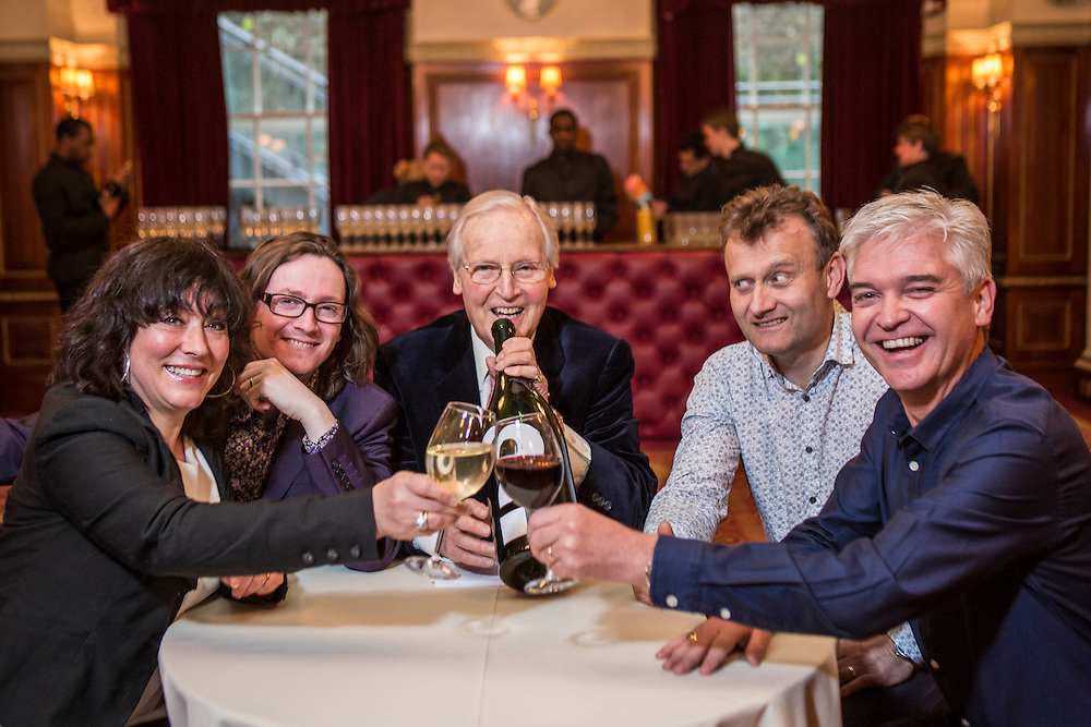 Celebrity wine-lovers Arabella Weir, Ed Byrne, Nicholas Parsons, Hugh Dennis and Phillip Schofield, get together at London's Plaisterers' Hall to take part in Call My Wine Bluff &nbsp;a wine-tasting gala fundraiser in aid of anti-poverty charity ActionAid.<br />