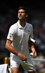 Wimbledon 2019 (Pic by Kirsten Holst/Propaganda)<br /> <br /> Novak Djokovic (SRB) competes in his Men's Singles first round match against Philipp Kohlschreiber (GER) during Day one of The Championships - Wimbledon 2019 at All England Lawn Tennis and Croquet Club<br /> <br /> Matched played on Centre Court