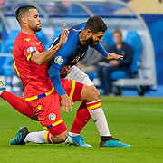 PARIS, FRANCE - September 10:  Nabil Fekir #18 of France is fouled by Marc Vales #3 of Andorra on the edge of the penalty during the France V Andorra, UEFA European Championship 2020 Qualifying match at Stade de France on September 10th 2019 in Paris, France (Photo by Tim Clayton/Corbis via Getty Images)