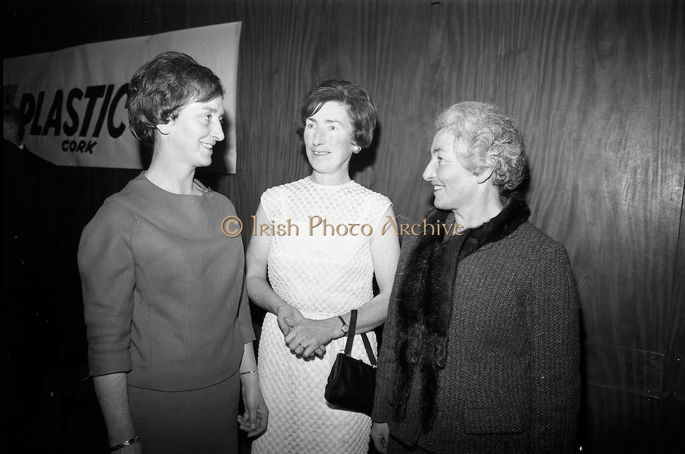 16/11/1966<br /> 11/16/1966<br /> 16 November 1966<br /> O'Brien Plastics Ltd., Bishopstown, Cork reception at the Intercontinental Hotel, Dublin to announce that Phillips Petroleum Company, Oklahoma U.S.A had acquired a 50% interest in O'Brien Plastics. Picture Shows (l-r): Miss Kathleen O'Brien, Assistant Secretary Kerrymans Association in Dublin and Assistant Secretary Dublin Committee for the Festival of Kerry; Mrs. J.M. O'Shea, Killarney and Mrs. J. Farrell, Dublin. All are sisters of Mr. William O'Brien.
