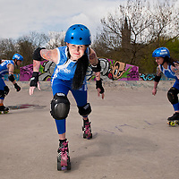 Girls from Team Scotland Roller Derby help promote Scotland's first ever roller marathon, The Great Scottish Skate.<br />