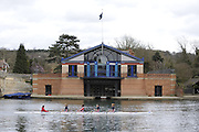 Henley, GREAT BRITAIN,  General View,  Junior  Womens Quad moves past Henley Royal Regatta, Headquarters Building, beside Henley Bridge, National Junior Sculling Head, Henley on Thames,   03/03/2008  2008. [Mandatory Credit, Peter Spurrier/Intersport-images] Rowing Courses, Henley Reach, Henley, ENGLAND