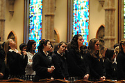 "Catholic high school students and staff from the dioceses of Chicago, Rockford and Joliet are gathered for a mass at Holy Name Cathedral to focus on promoting service leadership in the church under the theme ""A Call To Serve""..\"