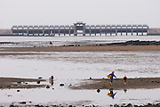 Jeju Island. Tourists on the beach during low tide. Road bridge to Seongsan in background.