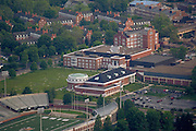 Aerial view of Walter Hall, Grover Center,  Peden Stadium, and Bicentennial Park.