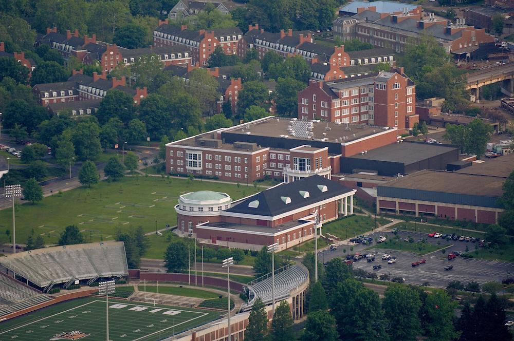 Aerial view of Walter Hall, Grover Center,  Peden Stadium, and Bicentennial Park.