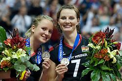 02.10.2011, Hala Pionir, Belgrad, SRB, Europameisterschaft Volleyball Frauen, Siegerehrung, im Bild Kathleen Weiß / Weiss (#2 GER), Angelina Grün / Gruen (#7 GER / Aachen GER) // during the 2011 CEV European Championship, Awarding Ceremony at Hala Pionir, Belgrade, SRB, 2011-10-02. EXPA Pictures © 2011, PhotoCredit: EXPA/ nph/  Kurth       ****** out of GER / CRO  / BEL ******