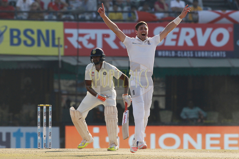 Chris Woakes of England unsuccessfully appeals during day 2 of the third test match between India and England held at the Punjab Cricket Association IS Bindra Stadium, Mohali on the 27th November 2016.<br /> <br /> Photo by: Deepak Malik/ BCCI/ SPORTZPICS
