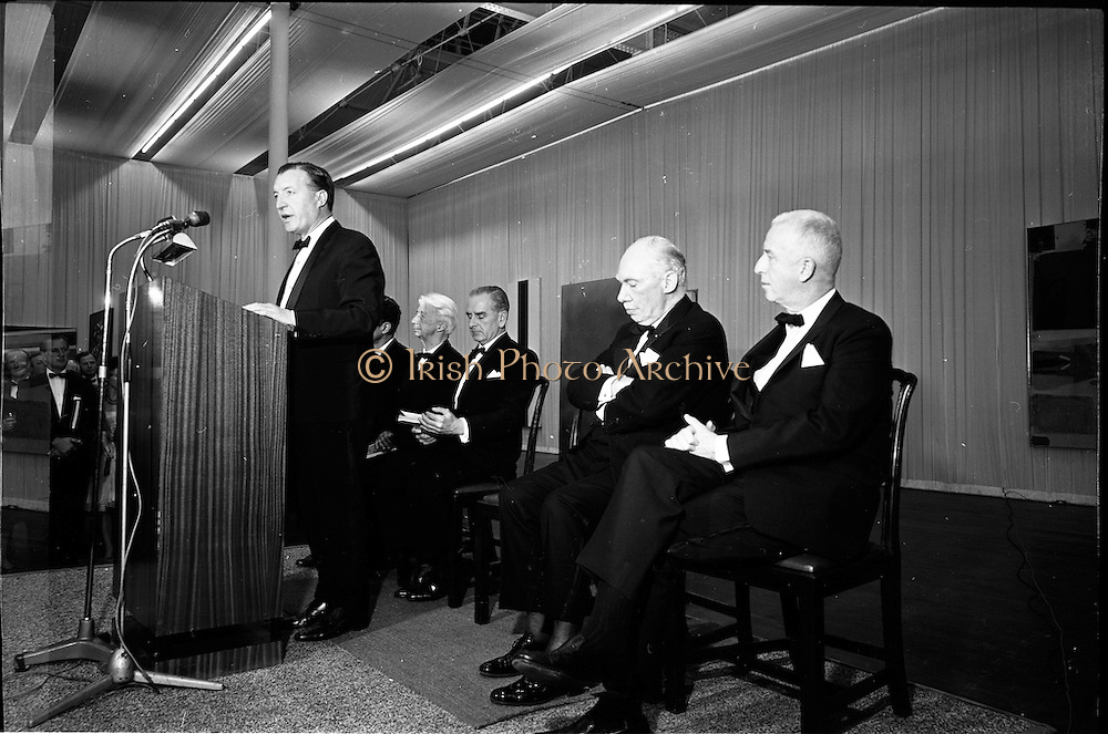 12/11/1967<br /> 11/12/1967<br /> 12 November 1967<br /> Offical opening of ROSC art exhibition at the R.D.S., Dublin.  Mr Charles Haughey, T.D., Minister for Finance, declaring open the ROSC Exhibition at the R.D.S. with L-R: Dr. Willem Sandberg, Chairman of the Israel Museum, Jerusalem, one of the jurors of the exhibition; Mr Kevin O'Doherty, who presided; Mr James Johnson Sweeny, Director of the Fine Arts Museum, Houston, a juror and Mr John D.J. Moore, Vice President W.R. Grace and Co. New York, one of the sponsors of the exhibition.