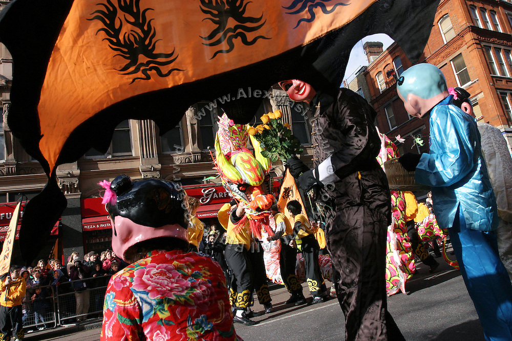 The traditional Chinese Dragon Dance during the Chinese New Year parade in Soho, London, UK, on Sunday, Feb. 13, 2005. **ITALY OUT**