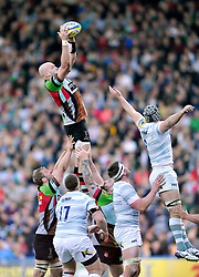 George Robson (Harlequins) rises high to win lineout ball - Photo mandatory by-line: Patrick Khachfe/JMP - Tel: Mobile: 07966 386802 29/03/2014 - SPORT - RUGBY UNION - The Twickenham Stoop, London - Harlequins v London Irish - Aviva Premiership.