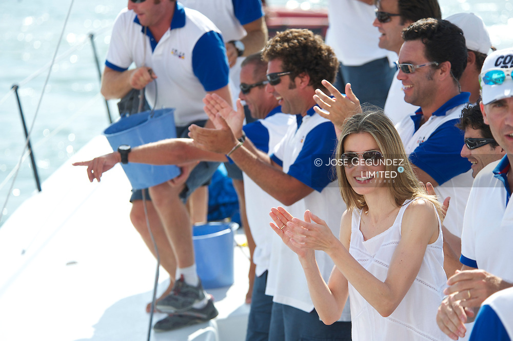 Prince Felipe and Princess Letizia during the last journey at the Real Club Nautico during during the 30th Copa del Rey Audi Mapfre Sailing Cup in Palma de Mallorca, Spain