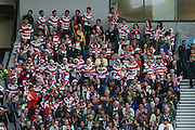 Japan fans during the Rugby World Cup Pool B match between South Africa and Japan at the Community Stadium, Brighton and Hove, England on 19 September 2015. Photo by Phil Duncan.
