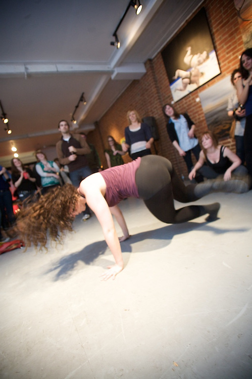 """Bis Films and Amy Blackmore Choreography host a fundraiser to finance their contemporary dance video """"So There's This Girl"""". The evening featured a number of dance, music and visual art presentations, including an improv dance closing to end the evening."""