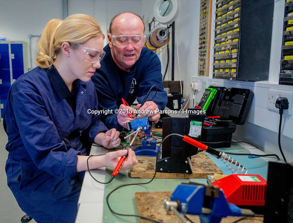 &copy;Licensed to i-Images Picture Agency. 19/03/2015. Crewe, Total People<br /> South Cheshire College, Conservative Campaign. Kate Wakefield &ndash; Apprentice at Astra Zeneca with her Instructor Gary Aldred.  Picture by Andrew Parsons / i-Images