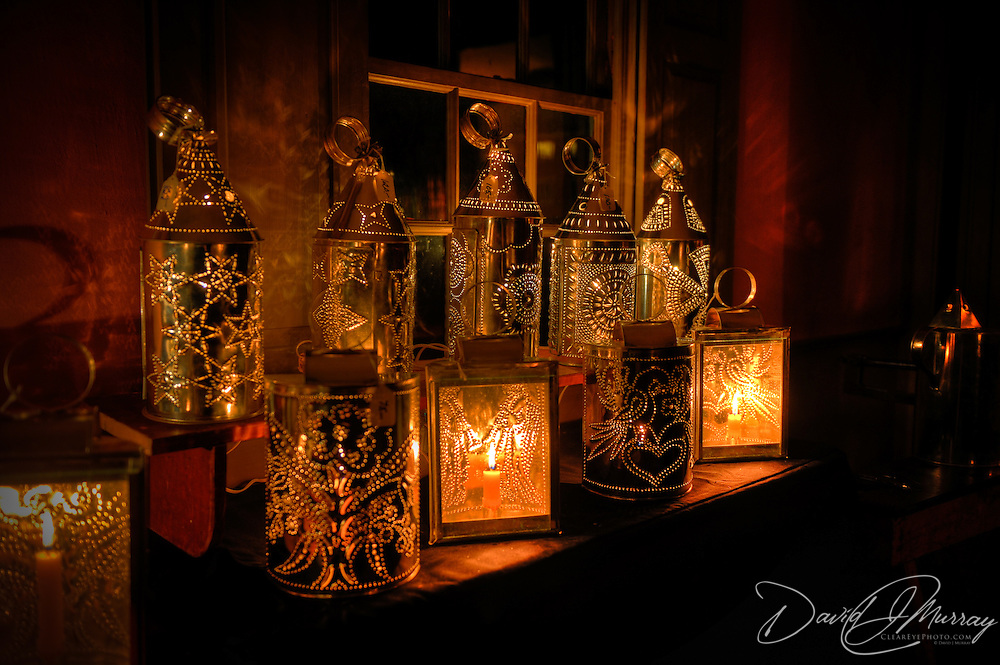 Hand made tin lanterns at Candle Light Stroll at Strawbery Banke, Portsmouth, NH Dec. 2010