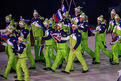 PYEONGCHANG-GUN, SOUTH KOREA - FEBRUARY 09: Team Slovenia during the Opening Ceremony of the PyeongChang 2018 Winter Olympic Games at PyeongChang Olympic Stadium on February 9, 2018 in Pyeongchang-gun, South Korea. Photo by Ronald Hoogendoorn / Sportida