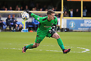 AFC Wimbledon goalkeeper Joe McDonnell (24) rolling the ball to a team mate during the EFL Sky Bet League 1 match between AFC Wimbledon and Peterborough United at the Cherry Red Records Stadium, Kingston, England on 17 April 2017. Photo by Matthew Redman.
