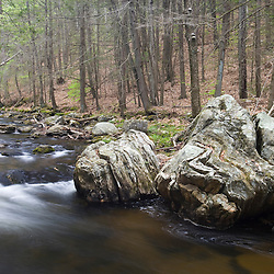 Pine Brook as it flows through the Nature Conservancy's Johnson Preserve in East Haddam, Connecticut. Salmon River tributary. Early spring.