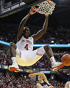 December 15, 2012: Indiana Hoosiers guard Victor Oladipo (4) with a big slam dunk in the Boston Scientific Close the Gap Crossroads Classic game between Butler Bulldogs and Indiana Hoosiers at Bankers Life Fieldhouse in Indianapolis, Indiana.