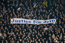 "West Brom fans hold up a banner reading ""Justice for Jeff"" to help his family raise awareness of the key issues surrounding head injuries in football - Photo mandatory by-line: Rogan Thomson/JMP - 07966 386802 - 11/02/2015 - SPORT - FOOTBALL - West Bromwich, England - The Hawthorns - West Bromwich Albion v Swansea City - Barclays Premier League."