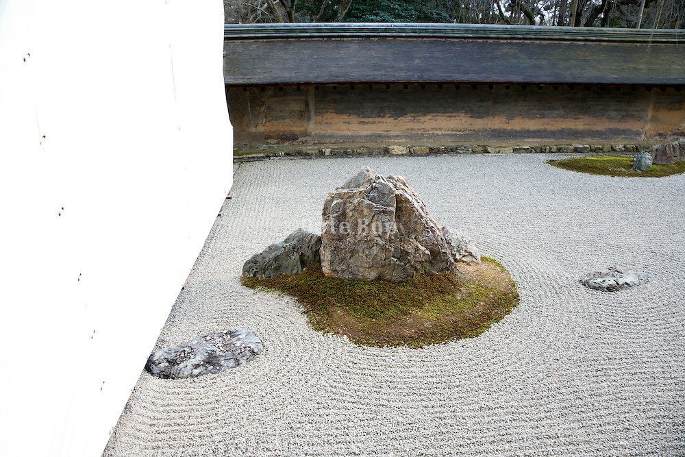 Ryoanji Temple zen garden in Kyoto while the temple is under renovation