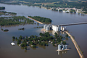 Aerial view of Ursa's Farmers Coop after the 2008 Iowa flood along the Mississippi River.