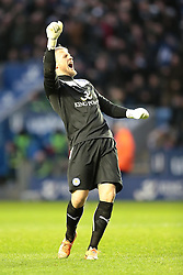 Leicester City's Kasper Schmeichel celebrates Leicester's second goal - Photo mandatory by-line: Nigel Pitts-Drake/JMP - Tel: Mobile: 07966 386802 25/01/2014 - SPORT - FOOTBALL - King Power Stadium - Leicester - Leicester City v Middlesbrough - Sky Bet Championship